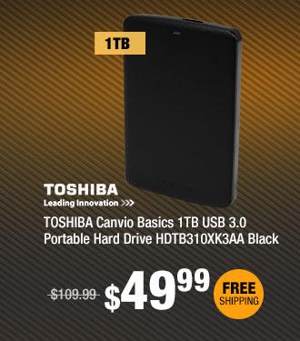 TOSHIBA Canvio Basics 1TB USB 3.0 Portable Hard Drive HDTB310XK3AA Black