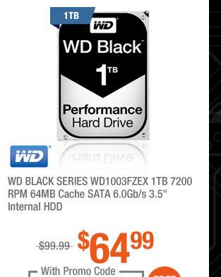 """WD BLACK SERIES WD1003FZEX 1TB 7200 RPM 64MB Cache SATA 6.0Gb/s 3.5"""" Internal HDD"""