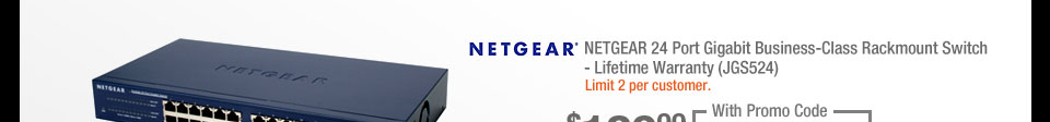 NETGEAR 24 Port Gigabit Business-Class Rackmount Switch - Lifetime Warranty (JGS524)