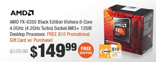 AMD FX-8350 Black Edition Vishera 8-Core 4.0GHz (4.2GHz Turbo) Socket AM3+ 125W Desktop Processor
