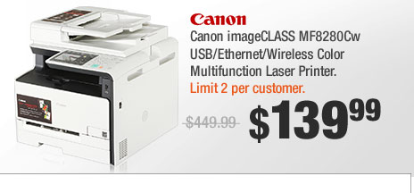 Canon imageCLASS MF8280Cw USB/Ethernet/Wireless Color Multifunction Laser Printer