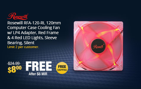 Rosewill RFA-120-RL 120mm Computer Case Cooling Fan w/ LP4 Adapter, Red Frame & 4 Red LED Lights, Sleeve Bearing, Silent