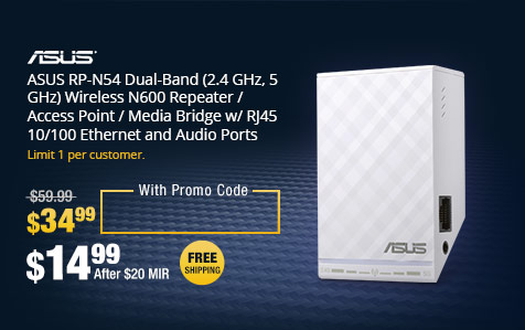 ASUS RP-N54 Dual-Band (2.4 GHz, 5 GHz) Wireless N600 Repeater / Access Point / Media Bridge w/ RJ45 10/100 Ethernet and Audio Ports