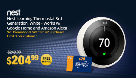 Nest Learning Thermostat 3rd Generation, White - Works w/ Google Home and Amazon Alexa
