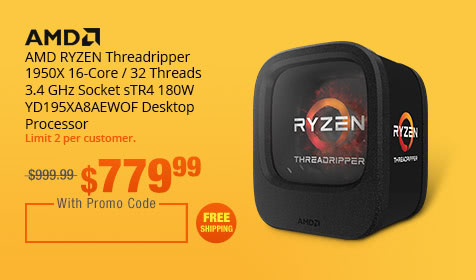 AMD RYZEN Threadripper 1950X 16-Core / 32 Threads 3.4 GHz Socket sTR4 180W YD195XA8AEWOF Desktop Processor