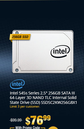 "Intel 545s Series 2.5"" 256GB SATA III 64-Layer 3D NAND TLC Internal Solid State Drive (SSD) SSDSC2KW256G8X1"