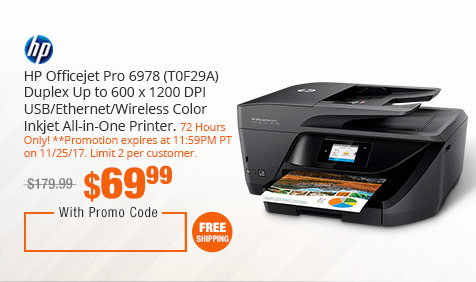 HP Officejet Pro 6978 (T0F29A) Duplex Up to 600 x 1200 DPI USB/Ethernet/Wireless Color Inkjet All-in-One Printer