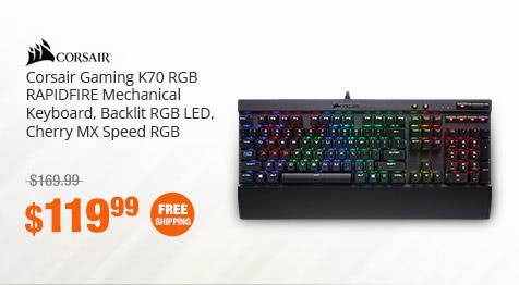 Corsair Gaming K70 RGB RAPIDFIRE Mechanical Keyboard, Backlit RGB LED, Cherry MX Speed RGB