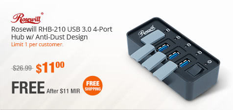 Rosewill RHB-210 USB 3.0 4-Port Hub w/ Anti-Dust Design