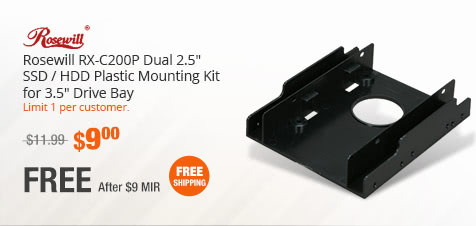 "Rosewill RX-C200P Dual 2.5"" SSD / HDD Plastic Mounting Kit for 3.5"" Drive Bay"