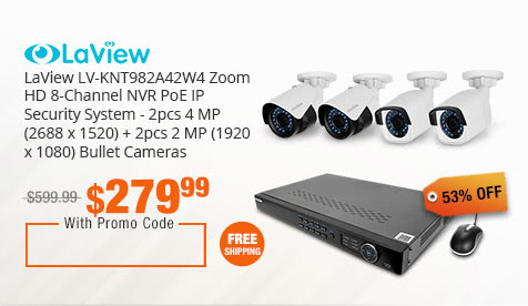 LaView LV-KNT982A42W4 Zoom HD 8-Channel NVR PoE IP Security System - 2pcs 4 MP (2688 x 1520) + 2pcs 2 MP (1920 x 1080) Bullet Cameras