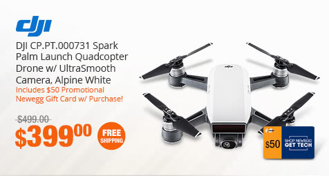 DJI CP.PT.000731 Spark Palm Launch Quadcopter Drone w/ UltraSmooth Camera, Alpine White