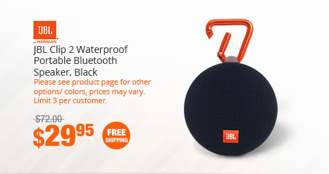 JBL Clip 2 Waterproof Portable Bluetooth Speaker, Black