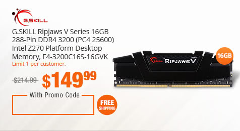 G.SKILL Ripjaws V Series 16GB 288-Pin DDR4 3200 (PC4 25600) Intel Z270 Platform Desktop Memory, F4-3200C16S-16GVK