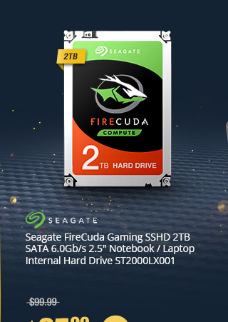 "Seagate FireCuda Gaming SSHD 2TB SATA 6.0Gb/s 2.5"" Notebook / Laptop Internal Hard Drive ST2000LX001"