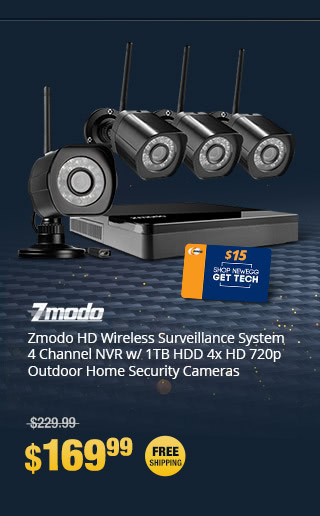 Zmodo HD Wireless Surveillance System 4 Channel NVR w/ 1TB HDD 4x HD 720p Outdoor Home Security Cameras