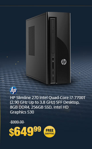HP Slimline 270 Intel Quad-Core i7-7700T (2.90 GHz Up to 3.8 GHz) SFF Desktop, 8GB DDR4, 256GB SSD, DVD-RW, HD Graphics 530