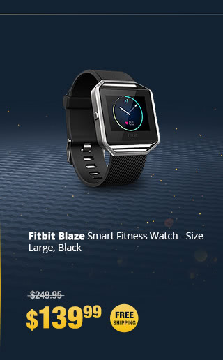 Fitbit Blaze Smart Fitness Watch - Size Large, Black