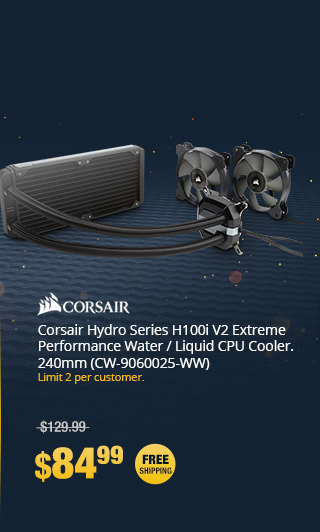Corsair Hydro Series H100i V2 Extreme Performance Water / Liquid CPU Cooler, 240mm (CW-9060025-WW)