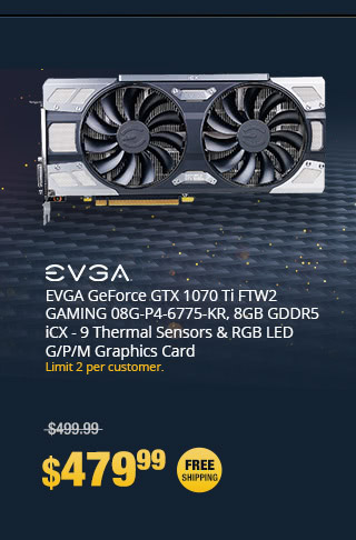 EVGA GeForce GTX 1070 Ti FTW2 GAMING 08G-P4-6775-KR, 8GB GDDR5 iCX - 9 Thermal Sensors & RGB LED G/P/M Graphics Card