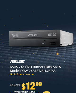 ASUS 24X DVD Burner Black SATA Model DRW-24B1ST/BLK/B/AS