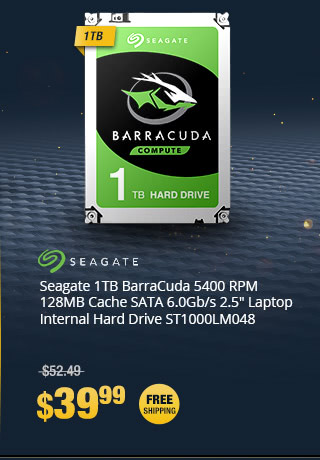 "Seagate 1TB BarraCuda 5400 RPM 128MB Cache SATA 6.0Gb/s 2.5"" Laptop Internal Hard Drive ST1000LM048"