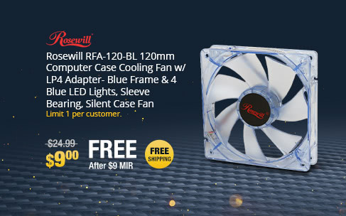 Rosewill RFA-120-BL 120mm Computer Case Cooling Fan w/ LP4 Adapter- Blue Frame & 4 Blue LED Lights, Sleeve Bearing, Silent Case Fan