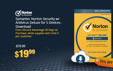 Symantec Norton Security w/ Antivirus Deluxe for 5 Devices - Download