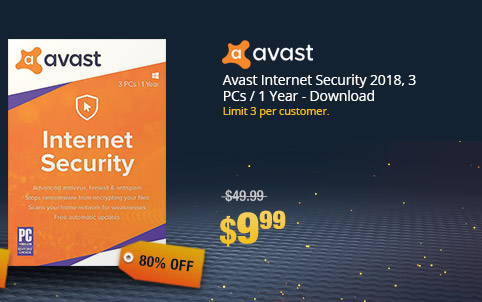 Avast Internet Security 2018, 3 PCs / 1 Year - Download