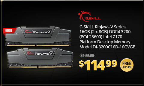 G.SKILL Ripjaws V Series 16GB (2 x 8GB) DDR4 3200 (PC4 25600) Intel Z170 Platform Desktop Memory Model F4-3200C16D-16GVGB