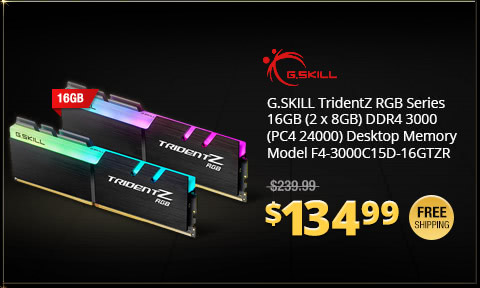 G.SKILL TridentZ RGB Series 16GB (2 x 8GB) DDR4 3000 (PC4 24000) Desktop Memory Model F4-3000C15D-16GTZR