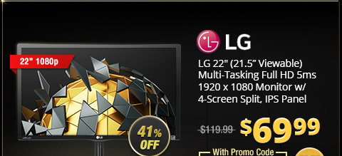 "LG 22"" (21.5"" Viewable) Multi-Tasking Full HD 5ms 1920 x1080 Monitor w/ 4-Screen Split, IPS Panel"