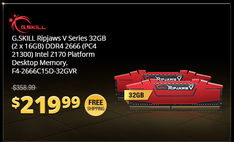 G.SKILL Ripjaws V Series 32GB (2 x 16GB) DDR4 2666 (PC4 21300) Intel Z170 Platform Desktop Memory, F4-2666C15D-32GVR
