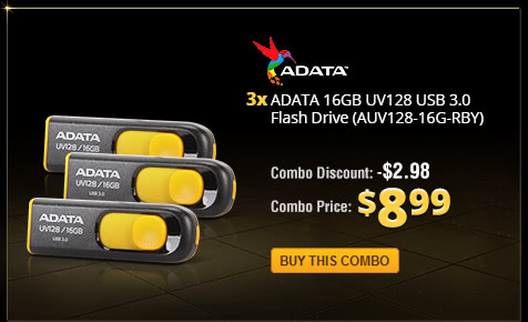 Combo: 3x - ADATA 16GB UV128 USB 3.0 Flash Drive (AUV128-16G-RBY)