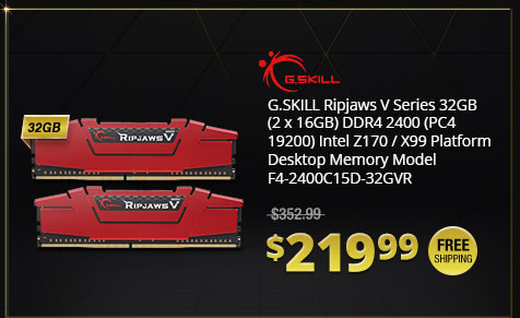 G.SKILL Ripjaws V Series 32GB (2 x 16GB) DDR4 2400 (PC4 19200) Intel Z170 / X99 Platform Desktop Memory Model F4-2400C15D-32GVR