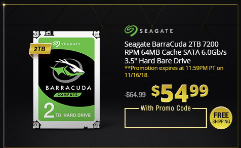 "Seagate BarraCuda 2TB 7200 RPM 64MB Cache SATA 6.0Gb/s 3.5"" Hard Bare Drive"