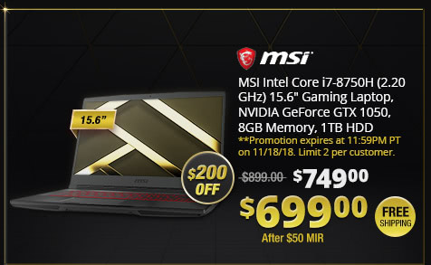 "MSI Intel Core i7-8750H (2.20 GHz) 15.6"" Gaming Laptop, NVIDIA GeForce GTX 1050, 8GB Memory, 1TB HDD"