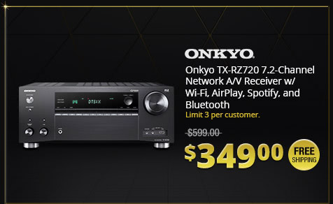 Onkyo TX-RZ720 7.2-Channel Network A/V Receiver w/ Wi-Fi, AirPlay, Spotify, and Bluetooth