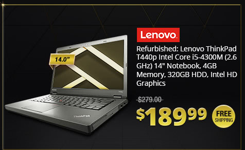 "Refurbished: Lenovo ThinkPad T440p Intel Core i5-4300M (2.6 GHz) 14"" Notebook, 4GB Memory, 320GB HDD, Intel HD Graphics"