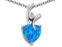 0.55 cttw Original Star K(TM) Heart Shape 8mm Created Blue Opal Pendant