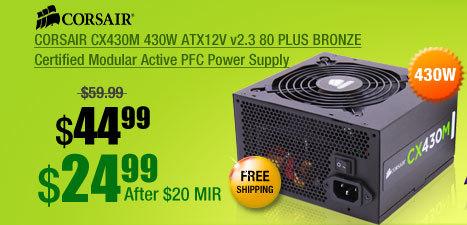 CORSAIR CX430M 430W ATX12V v2.3 80 PLUS BRONZE Certified Modular Active PFC Power Supply