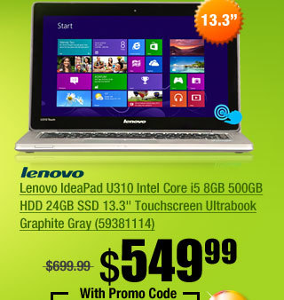 "Lenovo IdeaPad U310 Intel Core i5 8GB 500GB HDD 24GB SSD 13.3"" Touchscreen Ultrabook Graphite Gray (59381114)"