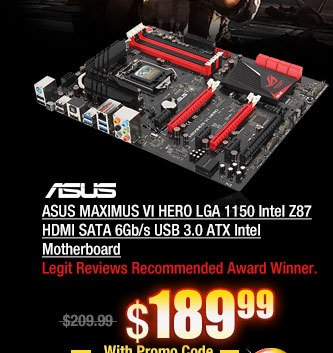ASUS MAXIMUS VI HERO LGA 1150 Intel Z87 HDMI SATA 6Gb/s USB 3.0 ATX Intel Motherboard