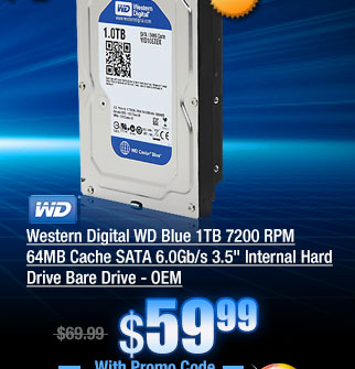 Western Digital WD Blue 1TB 7200 RPM 64MB Cache SATA 6.0Gb/s 3.5 inch Internal Hard Drive Bare Drive - OEM