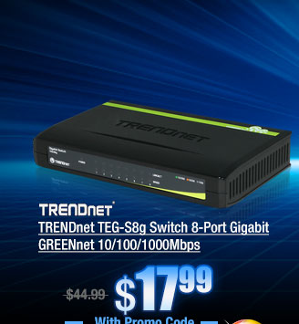 TRENDnet TEG-S8g Switch 8-Port Gigabit GREENnet 10/100/1000Mbps
