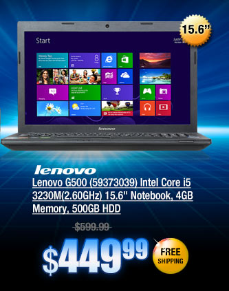 Lenovo G500 (59373039) Intel Core i5 3230M(2.60GHz)15.6 inch Notebook, 4GB Memory, 500GB HDD