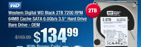 Western Digital WD Black 2TB 7200 RPM 64MB Cache SATA 6.0Gb/s 3.5 inch Hard Drive Bare Drive - OEM