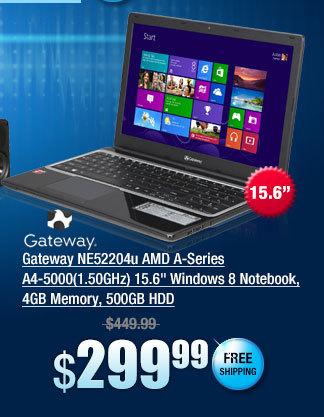 Gateway NE52204u AMD A-Series A4-5000(1.50GHz) 15.6 inch Windows 8 Notebook, 4GB Memory, 500GB HDD