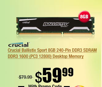Crucial Ballistix Sport 8GB 240-Pin DDR3 SDRAM DDR3 1600 (PC3 12800) Desktop Memory