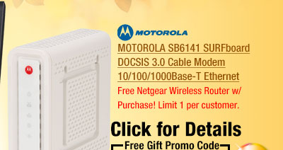 MOTOROLA SB6141 SURFboard DOCSIS 3.0 Cable Modem 10/100/1000Base-T Ethernet